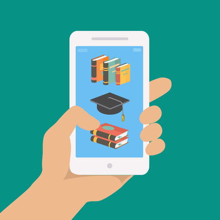 aprendizaje: Vector concepto de educación en línea en el estilo plano. Mano que sostiene teléfono móvil con aplicación educativa en la pantalla. Distante e-learning Vectores