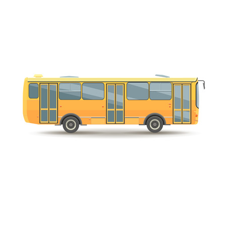 shorter: flat design public transport vehicle city  bus, side view, isolated