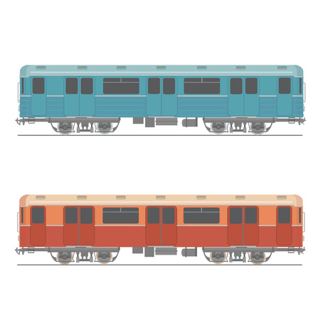 rapid: Decorative underground rapid train vector  design element Retro colored design urban transport item subway railway car Illustration