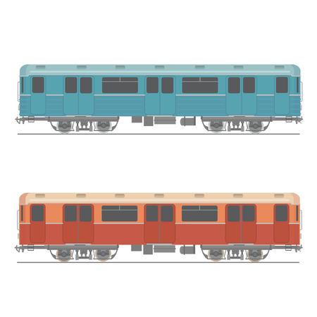underpass: Decorative underground rapid train vector  design element Retro colored design urban transport item subway railway car Illustration