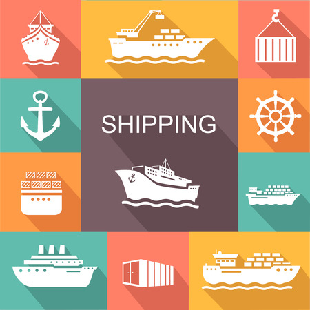 ships: Set of transportation and shipping colored icons. Container, tanker, cargo in trandy flat style.  Vector poster