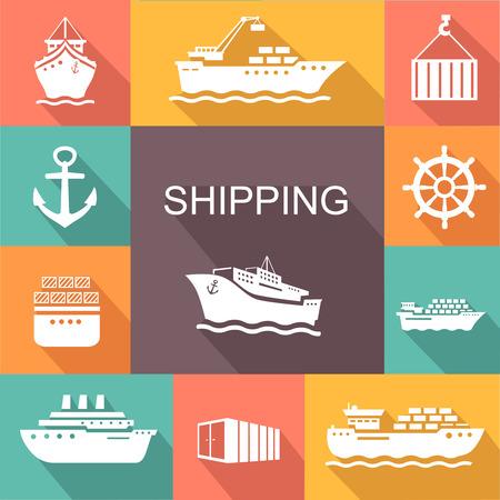 Set van transport en scheepvaart gekleurde pictogrammen. Container, tanker, vracht in trandy vlakke stijl. Vector poster Stock Illustratie