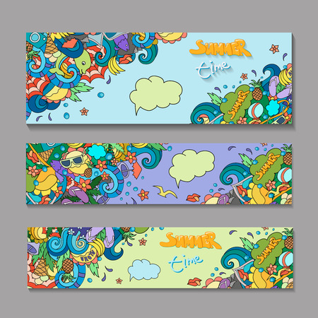 outdoor advertising: Vector banner templates set  with doodles summer time theme