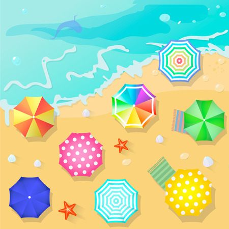 Summer beach in flat design style. Shell and towel, starfish and summertime, relaxation summer tourism,  vector illustration Illustration