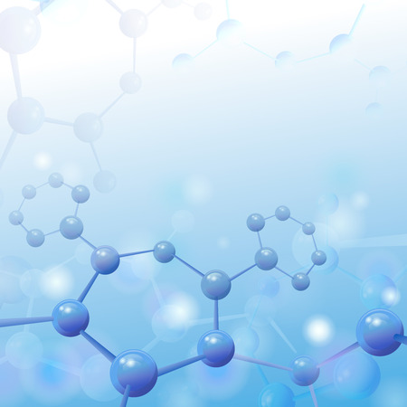 Molecule illustration over blue background with copyspace for your text Life and biology, medicine scientific, molecular research dna. Vector illustration Stok Fotoğraf - 42771948