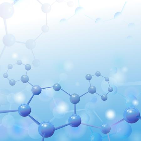 Molecuul illustratie over blauwe achtergrond met copyspace voor uw tekst Life en biologie, geneeskunde wetenschappelijk, moleculair onderzoek dna. vector illustratie