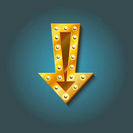 marquee sign: icona sul tendone segno di freccia con lampadine elettriche Retro cercando elemento della decorazione della parete realistico freccia incandescente con lampade