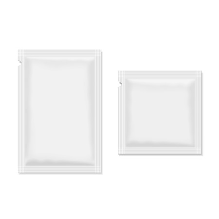 med: White blank sachet packaging  food, cosmetics or medicine.