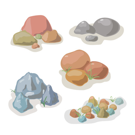 boulder: Stone and rock collection vector cartoon set Illustration