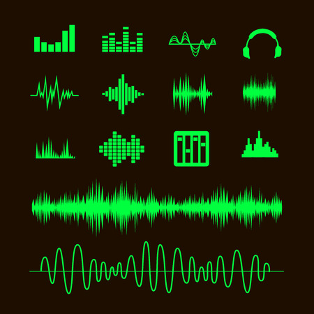 vibrations: Sound Waveforms. Sound waves and musical pulse icons
