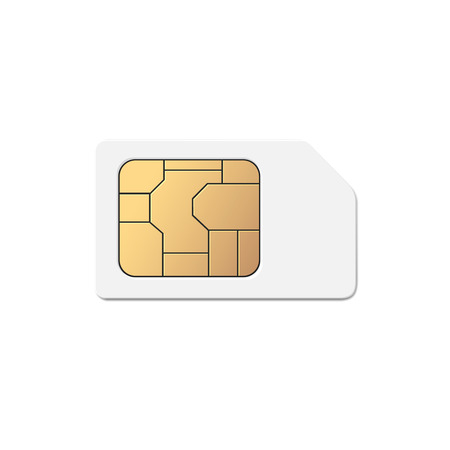 mobile cellular: Mobile Cellular Phone Sim Card Chip Isolated on white Background Illustration