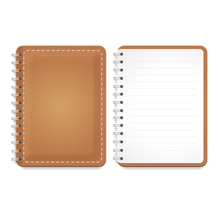 spiral notebook: Illustration of a leather notebook with spiral, opened notepad with blank lined paper and front cover.