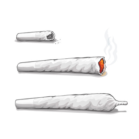 tobacco leaf: joint or spliff. Drug consumption,  marijuana and smoking drugs.