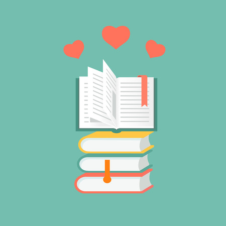 literatura: libros en diseño plano.