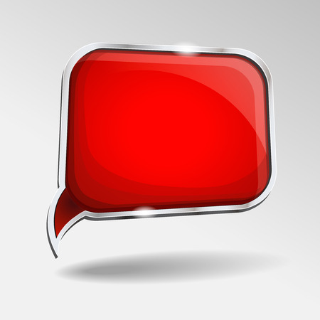 dialog: Abstract glossy red  speech bubble.  red abstract background.