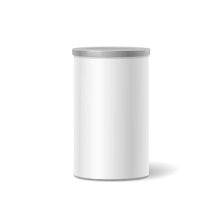 Witte blikken doos verpakking container voor koffie of thee geïsoleerde illustratie