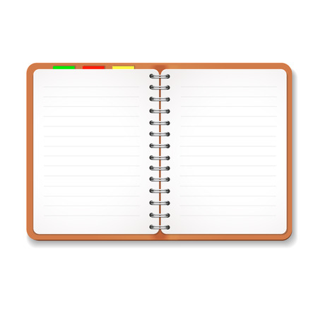 scheduler: Illustration of a leather notebook  with spiral, colorful tabs,  blank lined paper Illustration