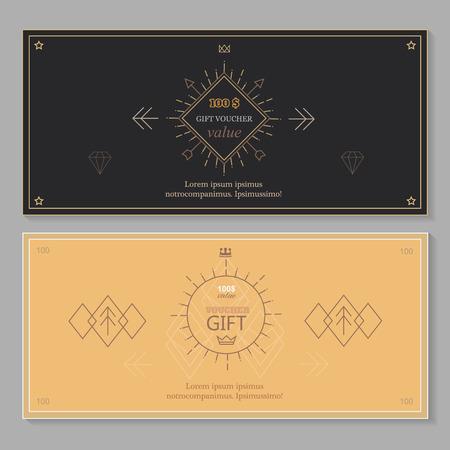 Chèque cadeau modèle bon de coupon avec l'art de la ligne, la conception Hipster Banque d'images - 42868471