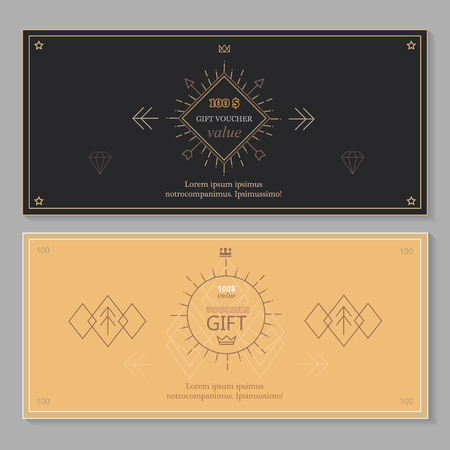 coupon: Gift certificate voucher coupon template with line art, Hipster design