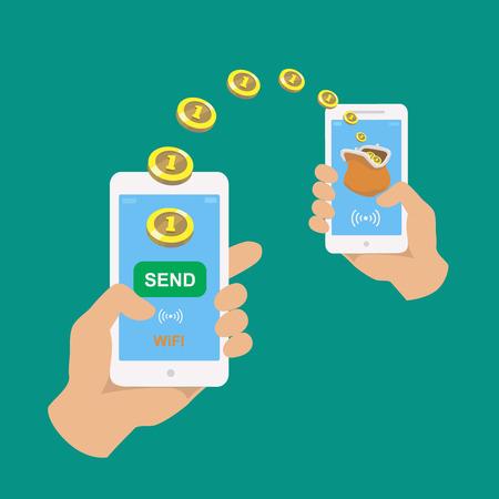 両手のスマート フォン。 銀行支払いアプリです。 お金を送受信する人は、携帯電話で無線します。