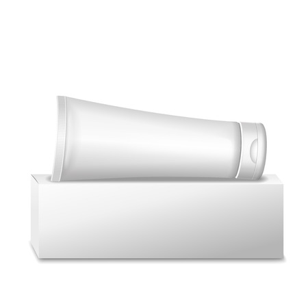 Realistic white tube and packaging .  For cosmetics or cream, tooth paste, glue Vector isolated. Illustration
