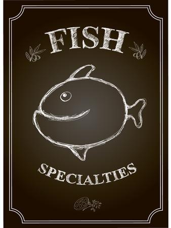vector Blackboard fish restaurant  menu card.