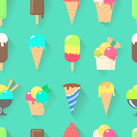 waffle ice cream: Ice cream on a stick, in waffle cup seamless pattern vector illustration