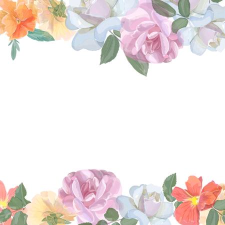 Aquarelle carte de voeux avec des roses, invitation ou pour mariage, anniversaire et un autre jour férié et le fond de l'été. Vecteur Banque d'images - 43498652