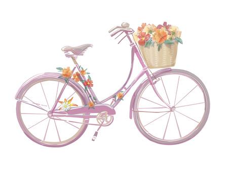 水彩イラストの花とピンクの自転車、ベクトル