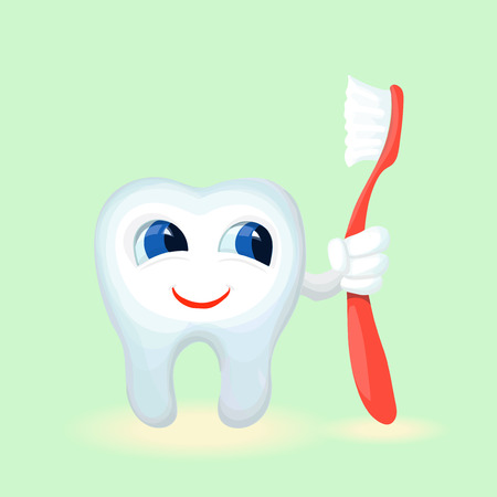 flossing: Children teeth care and hygiene cartoon flat  vector illustration Illustration
