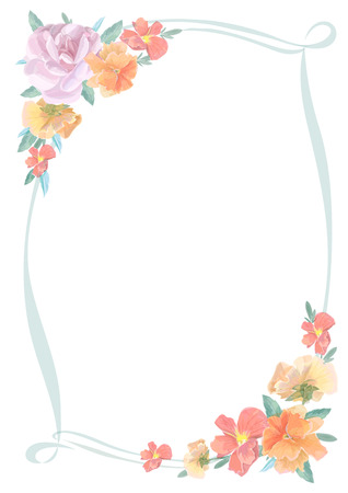 cute border: Watercolor greeting card with roses,  for  invitation or wedding, birthday and other holiday and  summer background. Vector