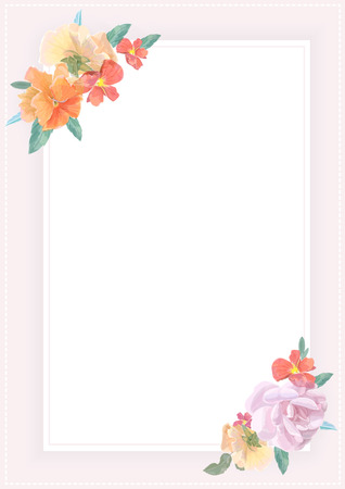 Watercolor greeting card with roses,  for  invitation or wedding, birthday and other holiday and  summer background. Vector