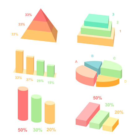 pie: Isometric 3d vector charts. Pie chart and donut chart, layers graphs and pyramid diagram. Infographic presentation, design data finance. Vector illustration