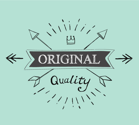 original: hand lettered catchword original vintage  tag vector