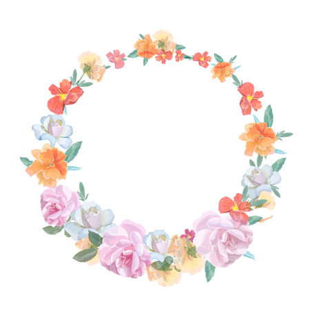 viola: Retro round frame from roses and viola, painted in watercolor style Illustration