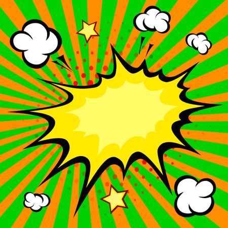 smoke background: Boom Comic Speech Bubble, Cartoon vector illustration Illustration