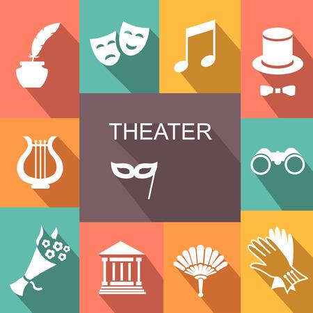 teatro mascara: Iconos Teatro de actuación conjunto blanco ilustración vectorial con la sombra Vectores