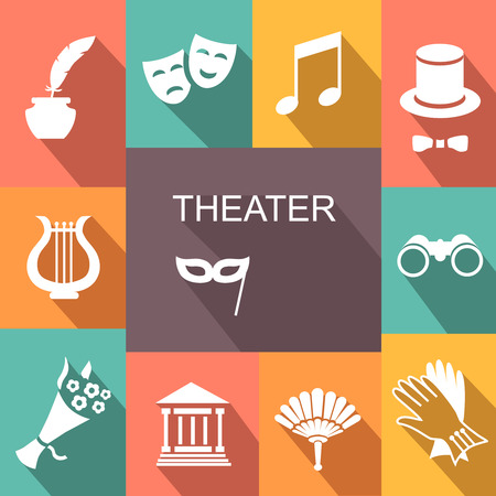 theater curtain: Theater acting  icons set white vector illustration with shadow