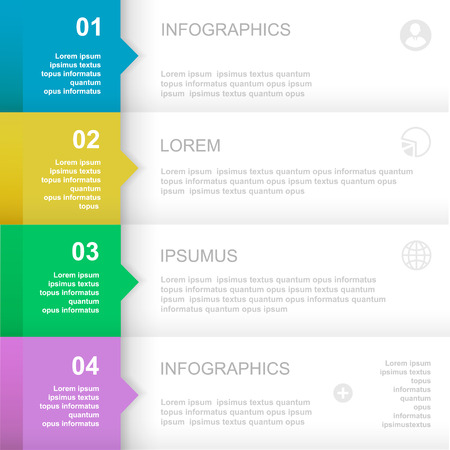 horizontal: Infographics Design template.   Numbered banners, horizontal cutout lines for graphic or website, presentation and chart  Vector illustration Illustration