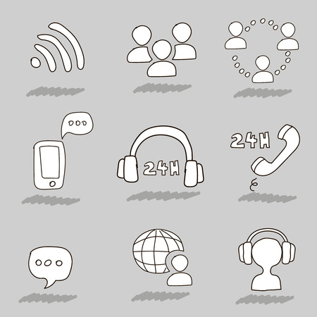 handsfree: Call center hand drawn icons. Support online  operator and headset