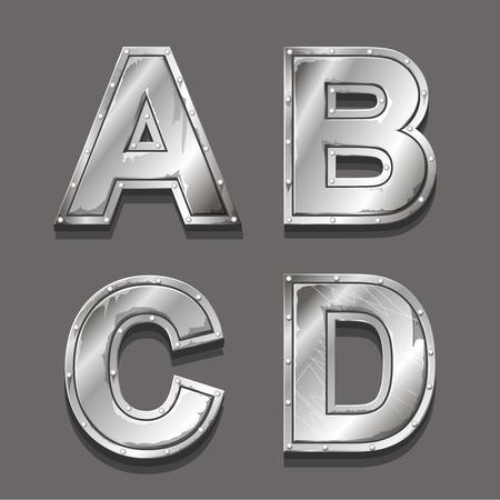 metal letters: Metal alphabet letters and symbols A B C D