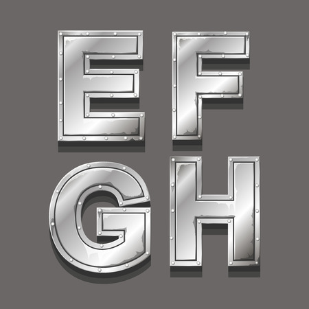 alphabetical order: Metal alphabet letters and symbols E F G H Illustration