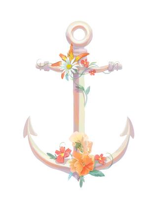 viola: Watercolor anchor, flowers viola, lili and camomile vintage retro design Stock Photo