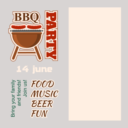 ��copy space �: BBQ barbecue Party Invitation with copy space