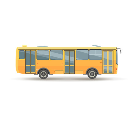 fare: flat design public transport  vehicle city bus, side view, isolated