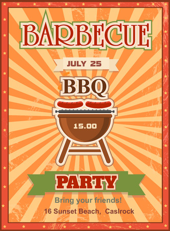 charcoal grill: Invitation card on the barbecue design template. Cookout poster design with charcoal grill sausages on forks and sample text. Stock Photo
