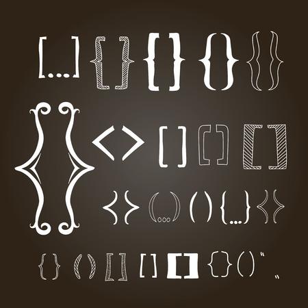 bracket: Different hand drawn brackets. Bracket  icons set on a chalkboard