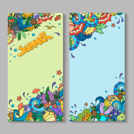id card: banner templates set with doodles summer time theme