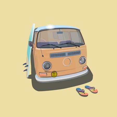 60s hippie: Surfer van beach poster for  t-shirt graphics. Transportation and surfing, kitesurf  sport board, vector illustration