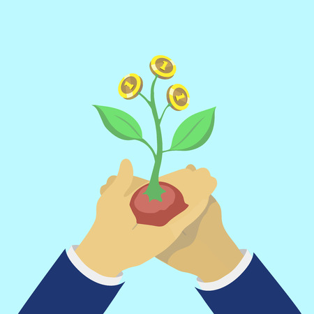 making money: Flat design colorful illustration of  a hand holding money plants, concept for making money, investment, getting profit, financial management isolated on light background